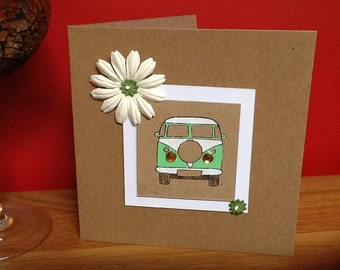 Handmade card- campervan design-green