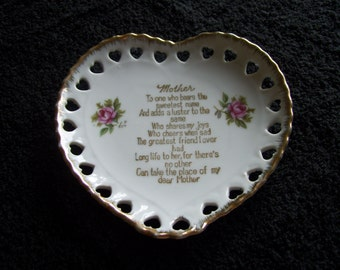 Collectable Mother's Plate Heart Shaped with Roses and Poem