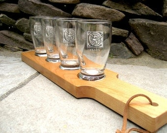 Beer Flight - Personalized Beer Flight - Beer Paddle with Glasses - Laser Engraved