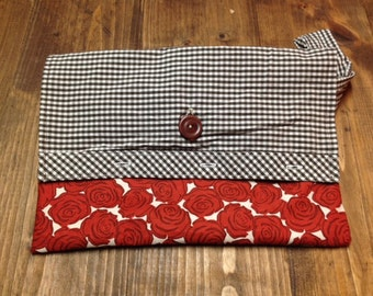 Red rose pattern wristlet/clutch with contrasting brown gingham and vintage button closure.