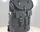 Waxed Canvas and Veg Tan Leather  Backpack  Handcrafted in USA    Grey/Black   Classic Form Contemporary Function