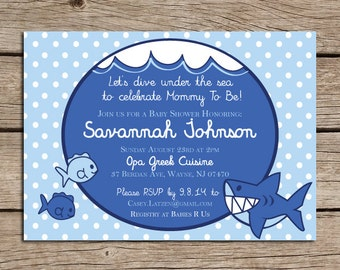 Printable Baby Shower Invitation, Made to order, Many color options, Downloadable File, Shark, Under the Sea, Baby Boy