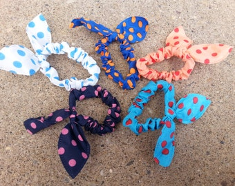 Set of 5 Cute Polka dot Bow Hair Bands point tail Girl and Women Accessories group #1