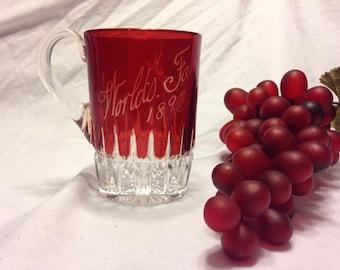 WORLDS FAIR 1893 - Souvenier Glass Mug