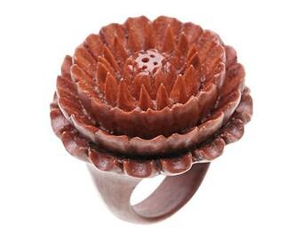 "Hand Carved Chrysanthemum Wood Ring - 3/4"" Flower"