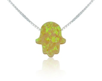 Yellow Hamsa Opal Necklace on a Sterling Silver box or link Chain • Safe to Get Wet • Can Become a Special Opal Gift to Give or Keep