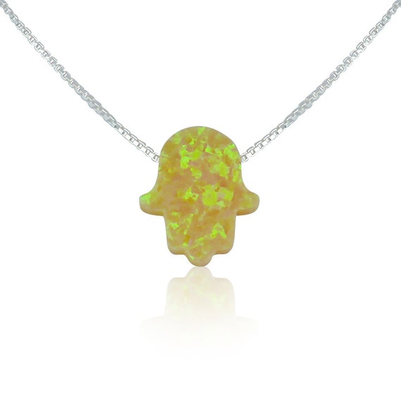 Yellow Opal Hamsa Necklace on a Sterling Silver box or link Chain • Safe to Get Wet • Will Make a Special Opal Necklace Gift to Give or Keep