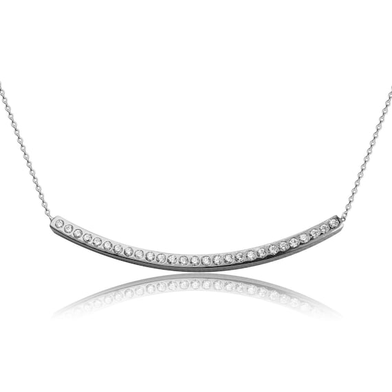 bar necklace real solid sterling silver with brilliant cubic zirconia SUPER SALE