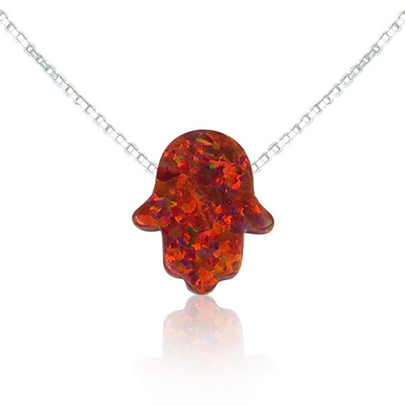 SALE red opal, hamsa, hand necklace, hamsa pendant, protection necklace, delicate gift necklace, dark red opal, 11x13mm