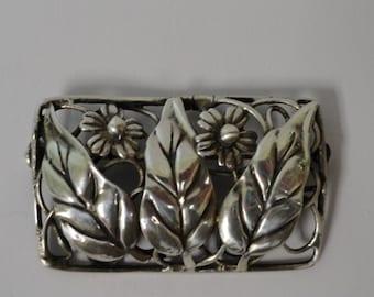 Antique Vintage Sterling Silver Flower Pin Brooch Circa 1941