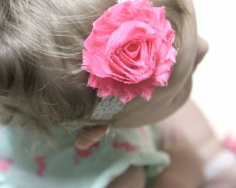 Pink shabby chic flower headband with white lace