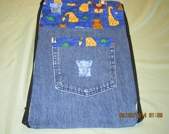 Child's Cinch Sack Backpack Made With Recycled Blue Jeans: Item #58