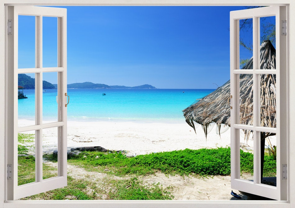 Beautiful beach removable wall decals 3d window beach vinyl for Beautiful beach decals for walls