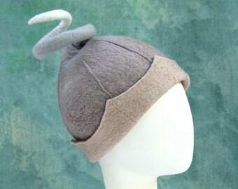 Dusty Gray Elf Helmet - Hand Felted Merino Wool - Fairy - Grey - Elf Helmet - Wool Hat