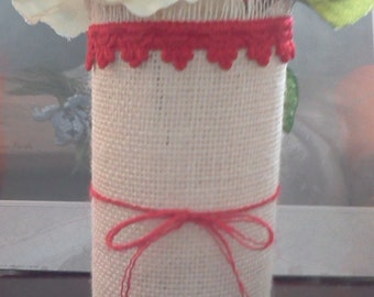 Red white Burlap cylinder glass vase with twine bow