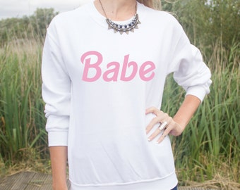 Babe Jumper Sweater Pink Fashion Fangirl Cute Top