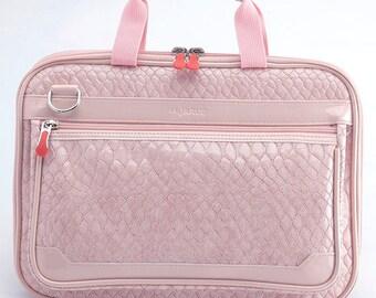 Crocodile 13 Inch MacBook Retina Display Laptop Bag / Padded Laptop Bag/ Detachable Shoulder /Leather Laptop Bag - Pink (Bisque)