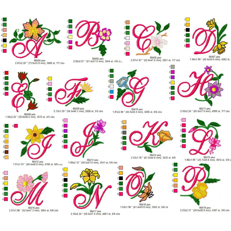 Floral script alphabet embroidery design dst exp hus