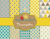 Teal, Grey and Yellow paper kit! INSTANT DOWNLOAD