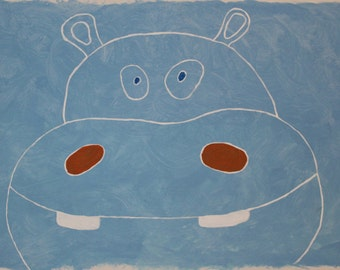 hippo art, hippo painting, hippo nursery, kids paintings, baby art, modern, canvas, jungle nursery, animal nursery art, zoo animals, safari
