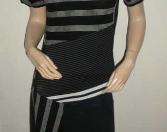 upcycled monochromatic black multi stretch striped dress, XS