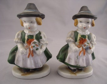 "Set of Occupied Japan Bavarian Flower Girl Figurines 4 1/2"" 1940s"
