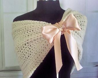 Blush And Ivory Bridal Shawl Bridesmaids Shawl Wedding Stole Winter Wedding Shoulder Cover Shoulder Wrap Evening Wrap Shrug Crochet Knit
