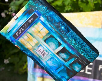 VIBRANT Watercolor TARDIS Dr. Who Clutch, Wallet, Zippered Pouch, Cosmetic, Coin, Gadget, Bag