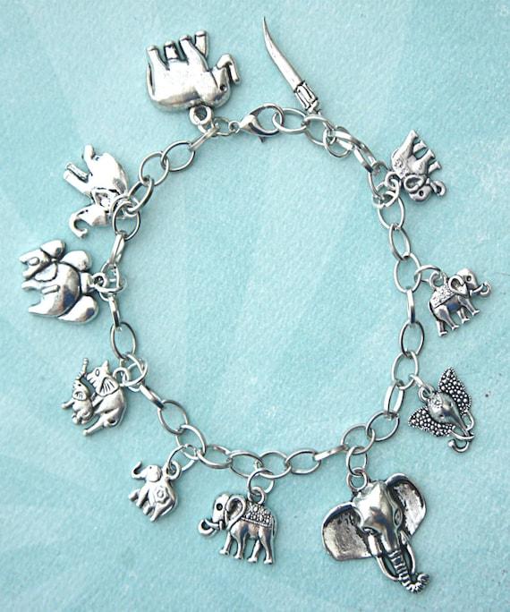 elephant charm bracelet tibetan silver themed bracelet