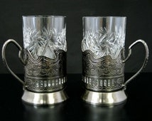 Set of 2 NEW  Russian European Cut Crystal Tea Glasses 8.5 oz. w/metal glass holders (podstakannik) suitable for hot/cold liquids
