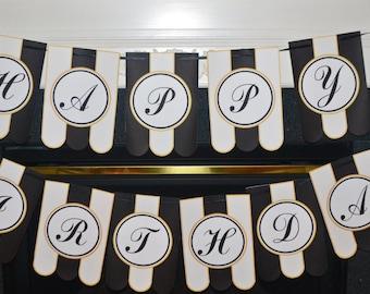 Birthday Banner, Black&White Birthday Banner, Black and White Birthday Banner