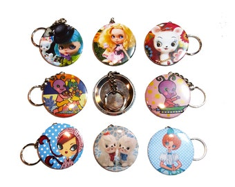 Key Chains featuring Custom Blythe Alice in Wonderland dolls; Blippy the Alien and Vintage pose dolls