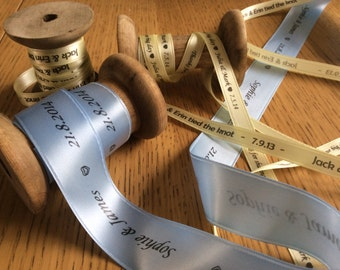 50m of Personalised Satin Ribbon (15mm wide) Printed, Customised Ribbon for Weddings, Birthdays, Baby Showers and more