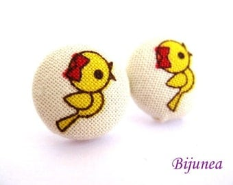 Bird earrings - Yellow bird earrings - Bird studs - Bird stud earrings - Bird posts - Bird post earrings sf582