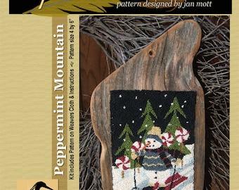 Peppermint Mountain Snowman on Skiis  Punchneedle Pattern Needle Punch