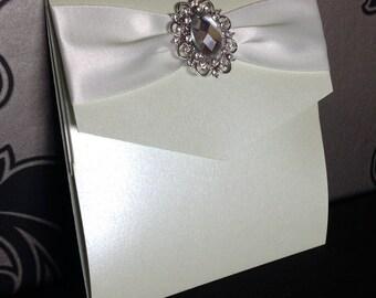 Pocketfold Wedding Invitations | Stone Brooch | Ribbon