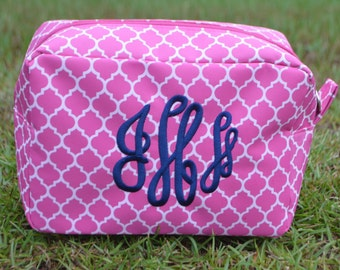 Personalized Cosmetic Tote-Pink Quatrefoil