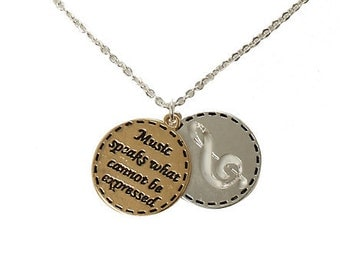 Music note necklace, music charm necklace, Music Necklace, Music Charm Necklace ,Music Gift Idea