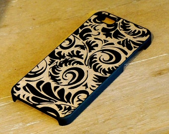 Tribal Engraved On Black Color Dipped Wooden Case, iPhone 4/4S, iPhone 5/5S, Samsung Galaxy 3, Samsung Galaxy 3