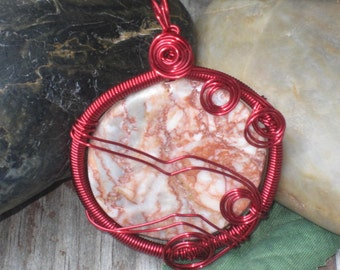 WSP-0148 Handmade Natural Red Marble Pendant Wire Wrapped with Artistic Wire