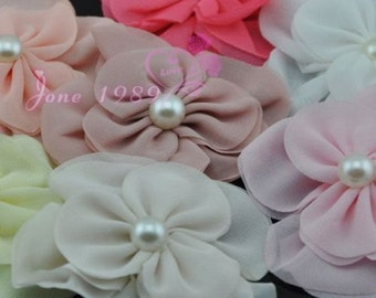8pcs double fabric flower party craft appliques wedding decoration A09