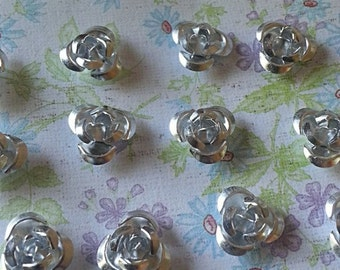 10mm Silver Rose Aluminum Spacer Bead