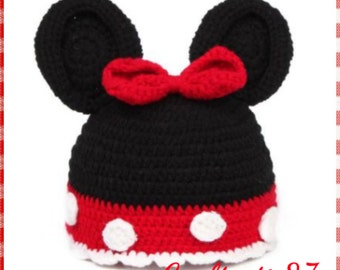 Crochet Minnie Mouse beanie Hat, handmade, gift, black Friday, cyber Monday