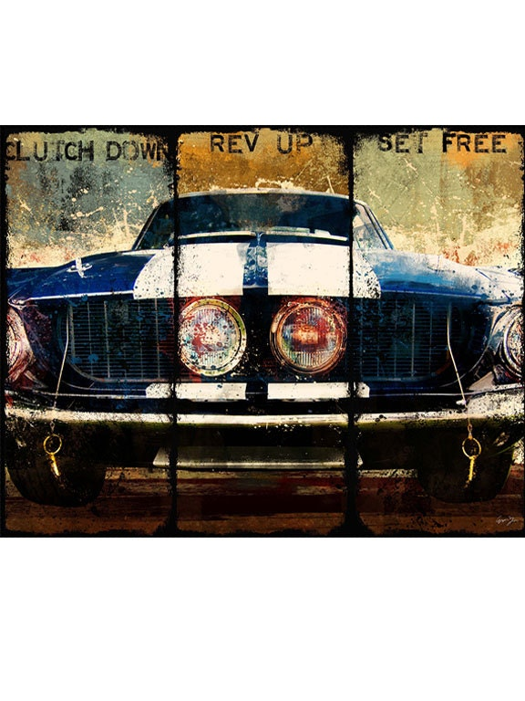 Clutch down gicle canvas art vintage mustang blue art print zoom malvernweather Image collections