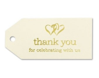 Double Hearts Ivory Thank You Tags in Gold Foil (Pack of 25)
