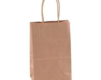 Small Brown Paper Bags with Handles Treat Bags