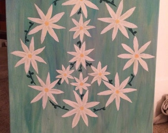 REDUCED PRICE Daisy and Vine Floral Peace Sign Painting