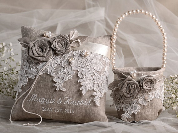 burlap lace flower girl basket