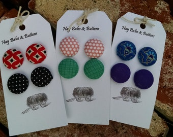 Trendy Button Earrings - 3 to choose from