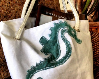 Green Seahorse Nautical Beach Bag, Nautical Fabric Rope Handles